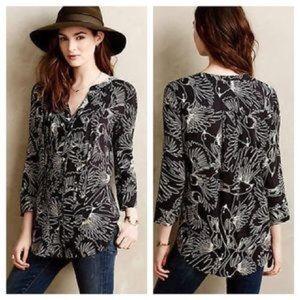 ANTHROPOLOGIE Maeve Bird Print Tunic Blouse Size 4